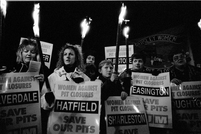 Women Against Pit Closures hold a torchlight vigil at Grimet...