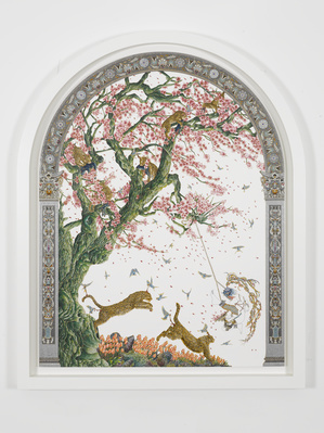 Arched Blossom Gatherer II, 2011 By Raqib Shaw