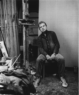 Francis Bacon in his 7 Reece Mews Studio, c. 1970s