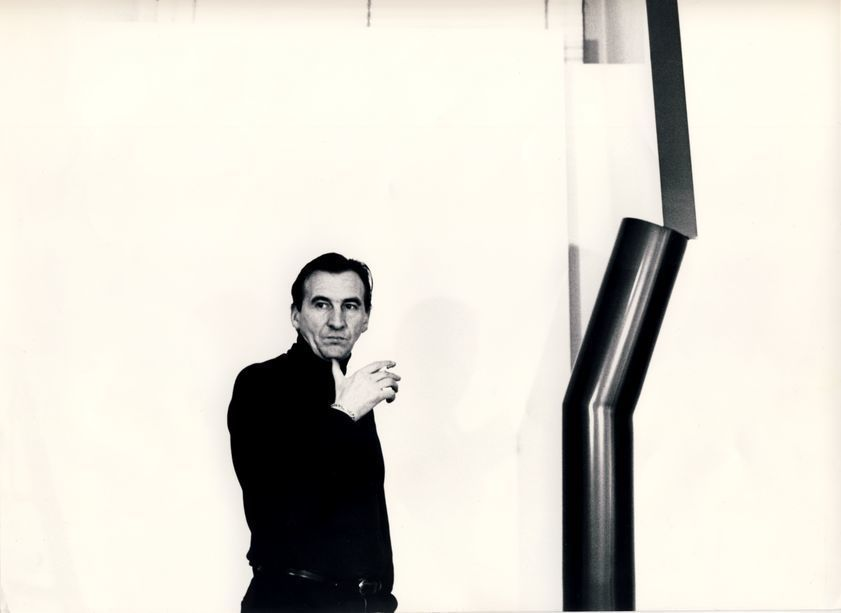 William Turnbull with Sculpture, 1966