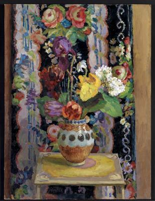 Flowers Against Chintz, 1956 By Duncan Grant