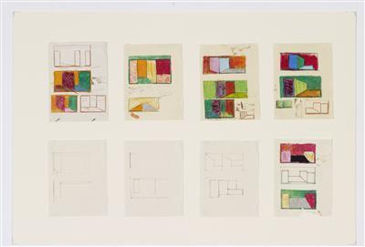 Sheet of eight compositional sketches (2), c.1965