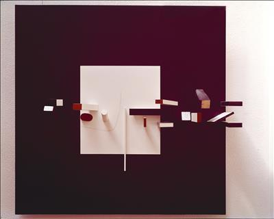 Abstract White, Black, Maroon and Cedar, 1962-63 By Victor Pasmore