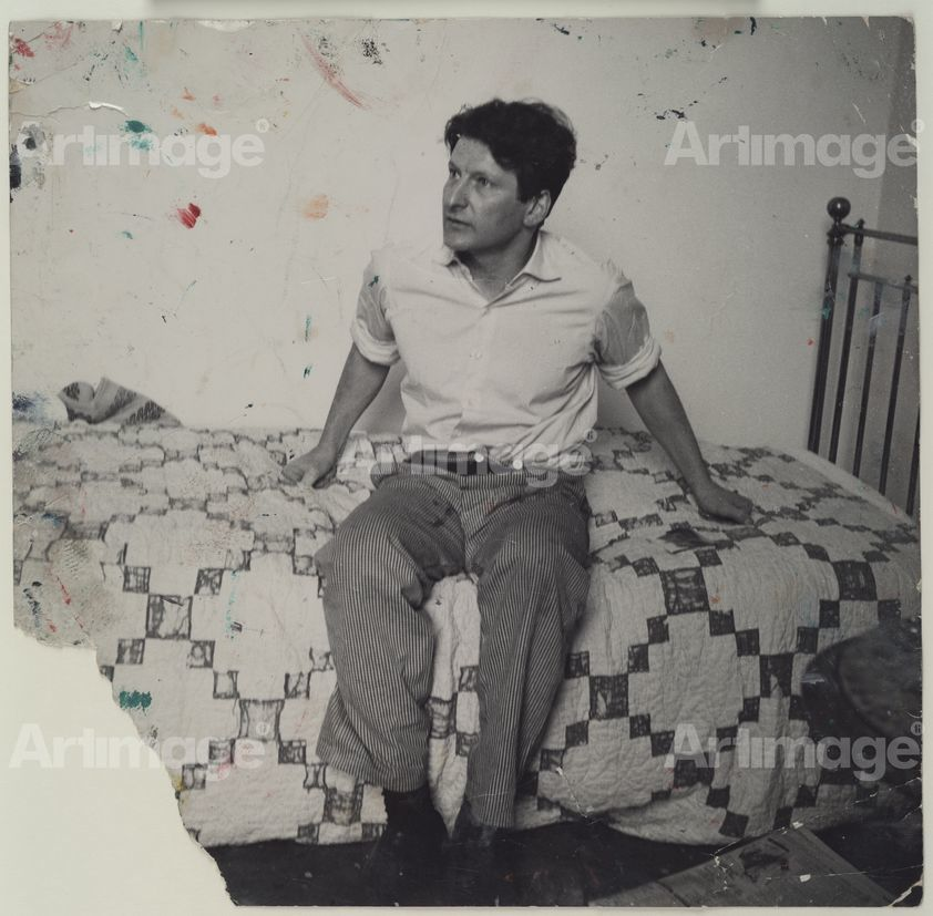Enlarged version of Lucian Freud on Bed, c. 1964