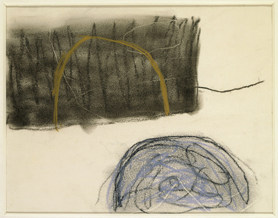 Drawing (Blue, Black and Ochre), 1960-61 By Roger Hilton